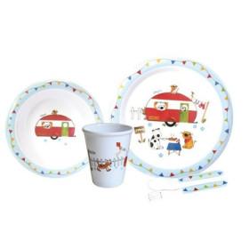 FLAMEFIELD Set vaisselle enfant 5 pièces Caravane