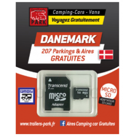 TRAILERS PARK Carte SD Danemark aires gratuites camping-car
